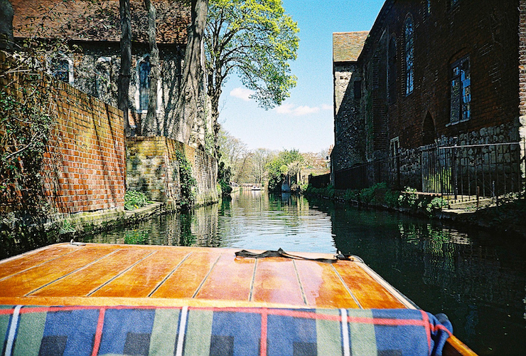 Riding in a punt on a river in Canterbury