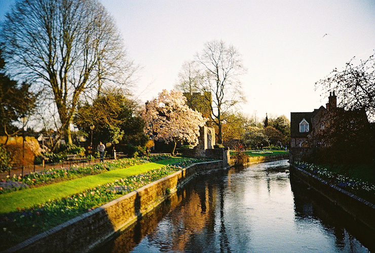 A river walkway in Canterbury
