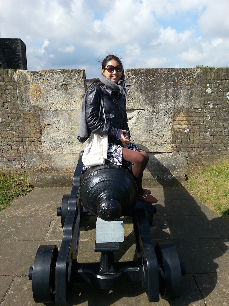 My friend sitting on a canon at Dover Castle